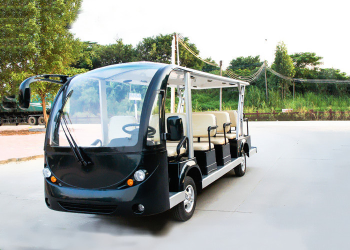 Black 14 Person Electric Sightseeing Bus 7.5KM Motor 72V Electric Sightseeing Car