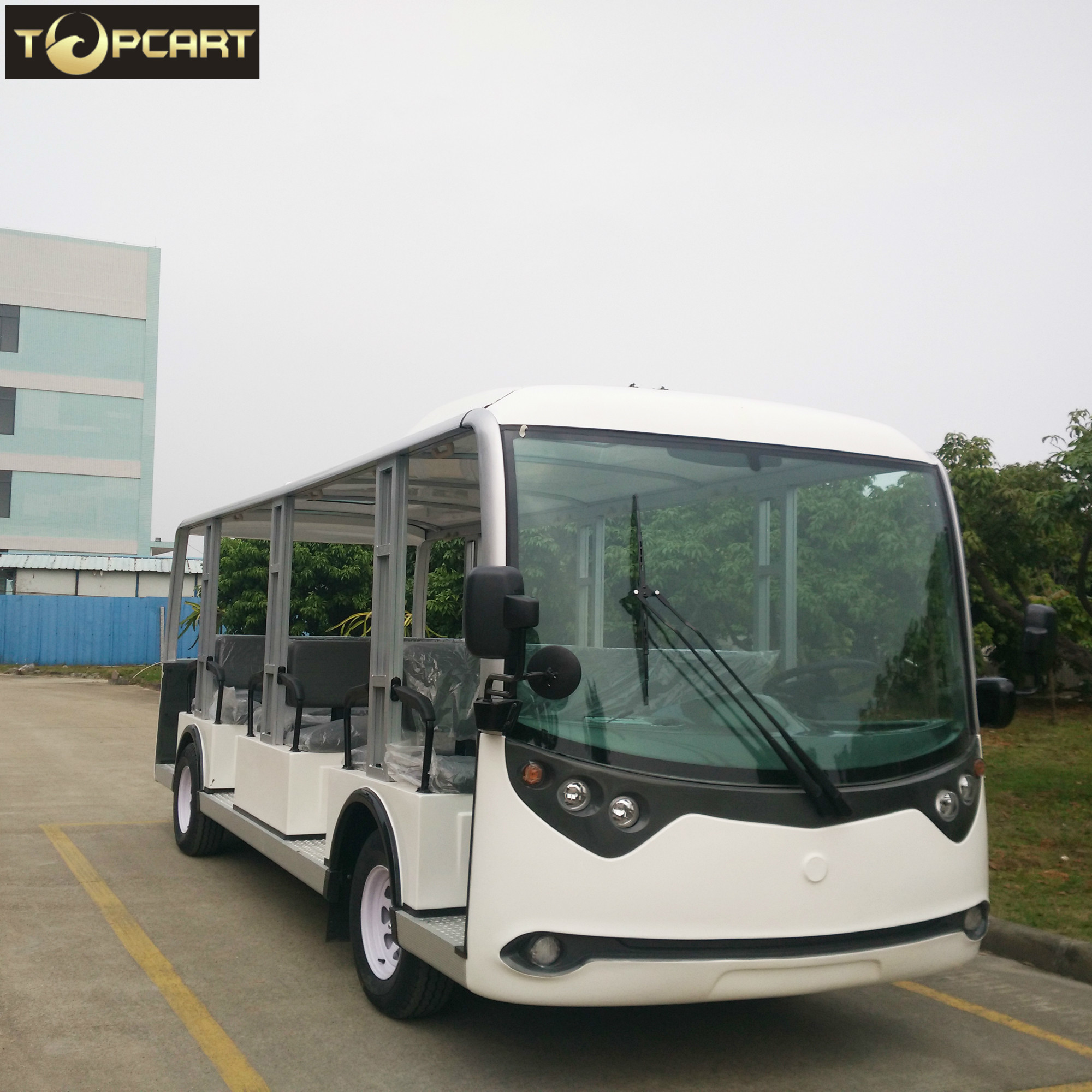 23 Seats Electric Sightseeing Bus , Battery Powered Electric Shuttle Bus